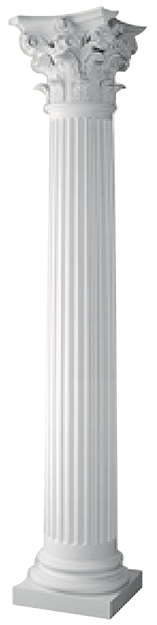 Round Tapered Fluted Column with Roman Cap