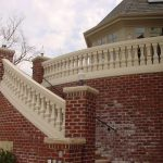Poly Stone Ancient Gothic Radius Stair 7 Inch Railing Cream Textured