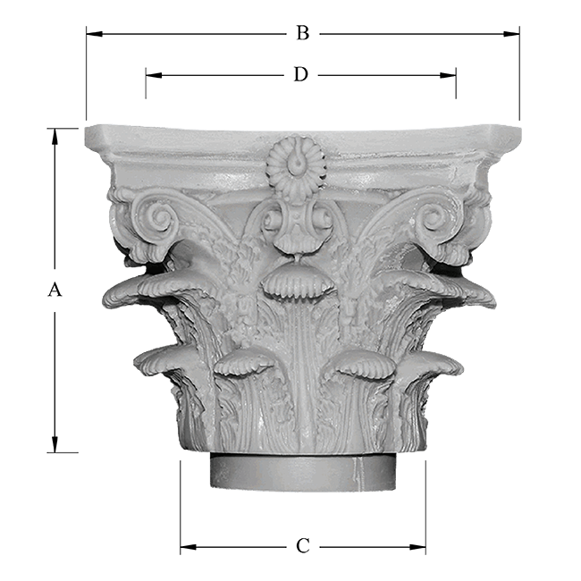 Roman Corinthian Decorative Capital Dimensions