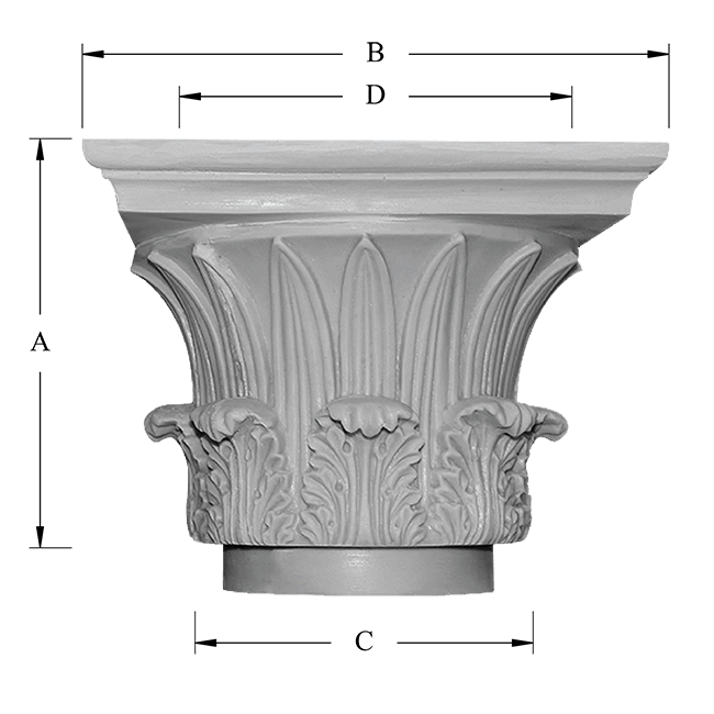 Temple of the Winds Decorative Capital Dimensions